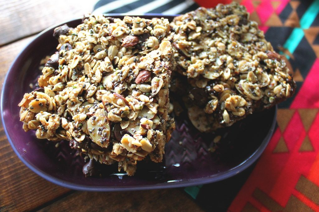 super healthy, super tasty, dark chocolate oat granola bars
