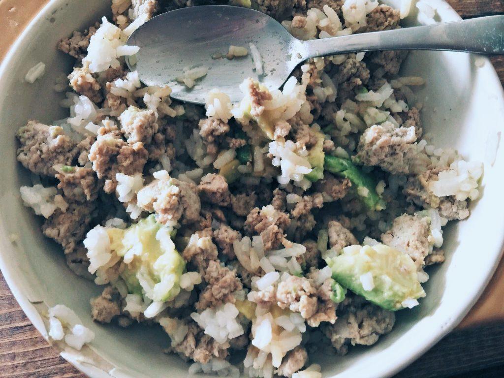 Ground Turkey, Rice & Avocados