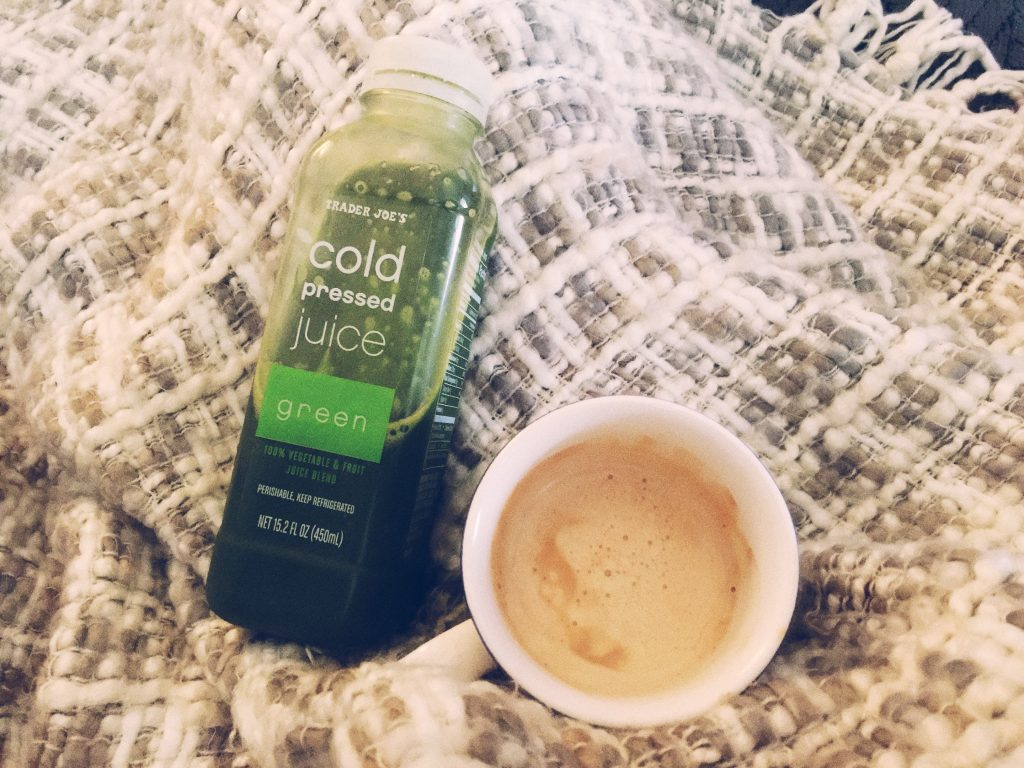 trader joes green juice and cappuccino
