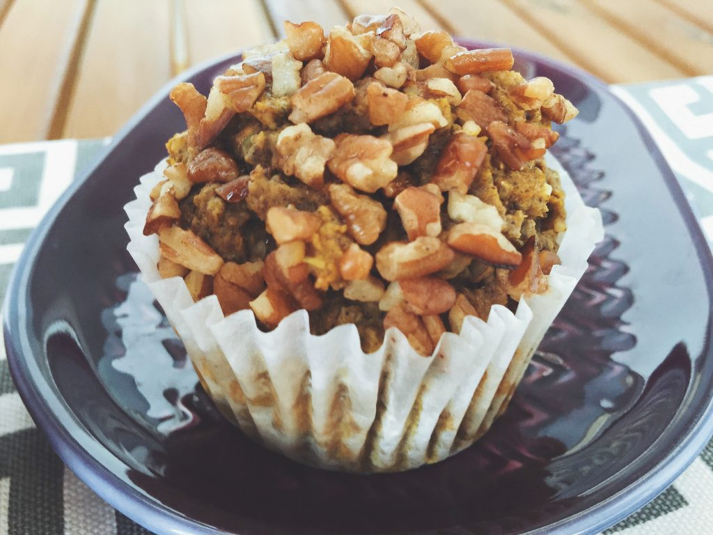 Healthy Whole Wheat Pumpkin Muffins (No sugar added, no butter, hemp seeds, flax seeds, chia seeds, pumpkin, stevia, egg, pecans)