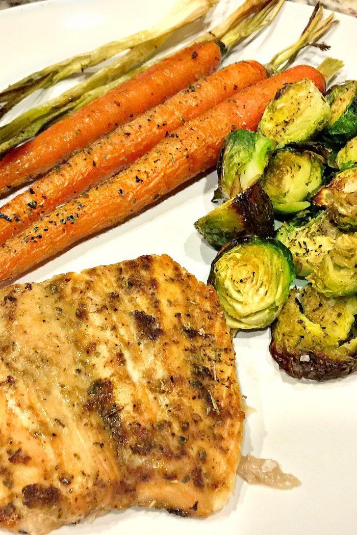 Super Quick Salmon & Roasted Vegetable Dinner