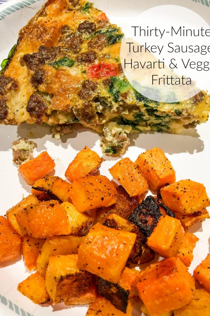 Thirty-Minute Turkey Sausage, Havarti & Veggie Frittata