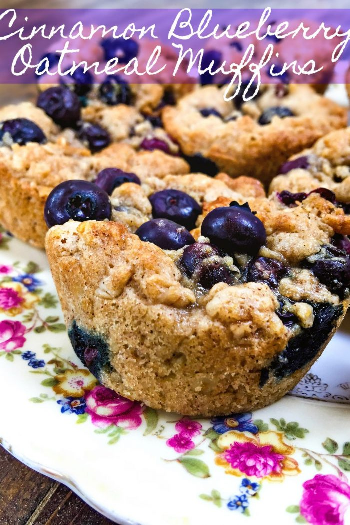 Healthy Cinnamon Blueberry Oatmeal Muffins