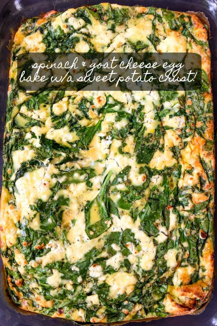 Spinach, Sweet Potato, & Goat Cheese Egg Bake