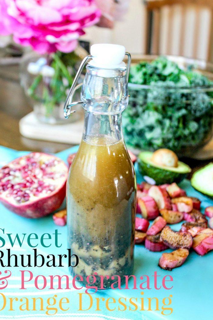 Sweet Rhubarb & Pomegranate Orange Dressing + Salad