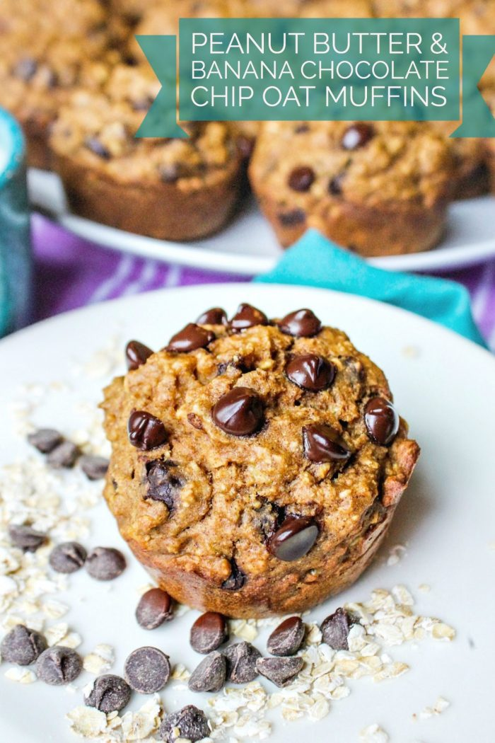 Peanut Butter & Banana Chocolate Chip Oat Muffins 🍌