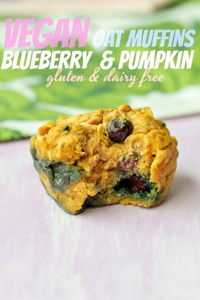 Blueberry & Pumpkin Oat Muffins (gluten free & vegan)