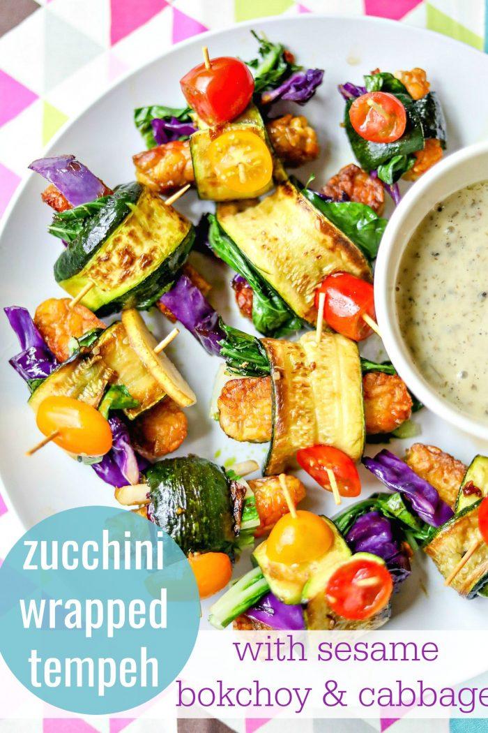 Zucchini Wrapped Tempeh w/ Sesame Bok Choy & Cabbage