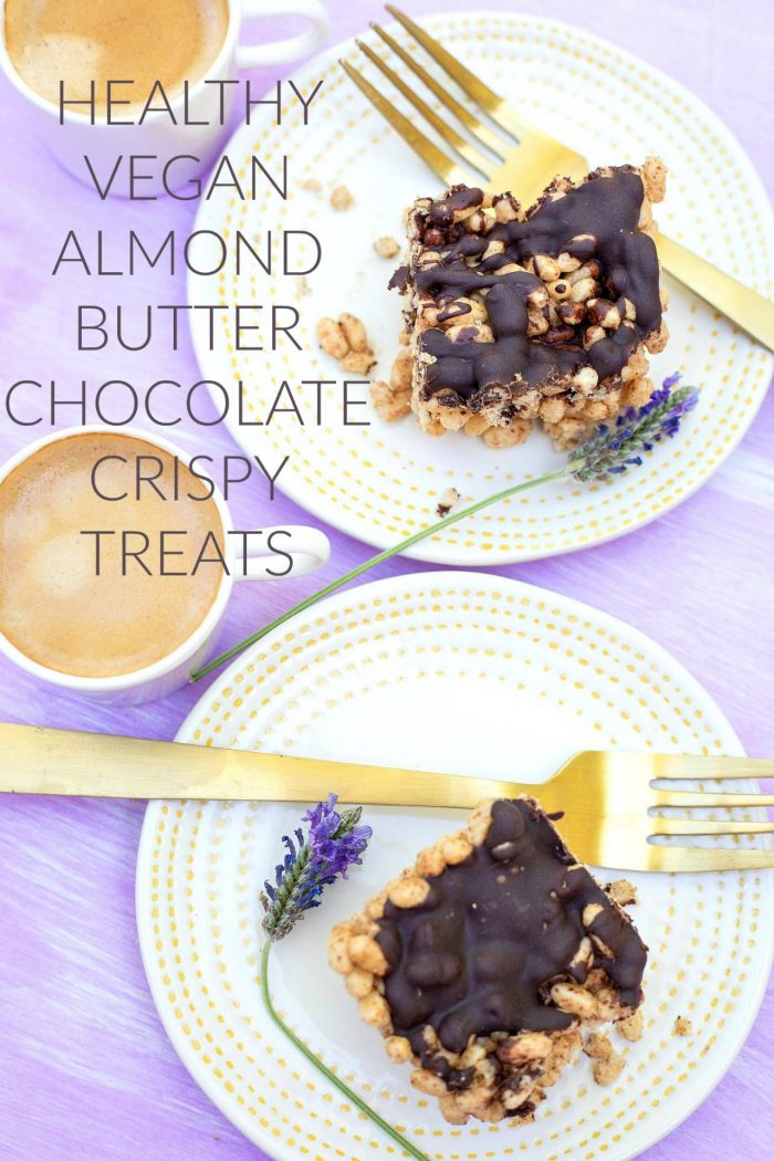 Healthy Vegan Almond Butter & Chocolate Crispy Treats