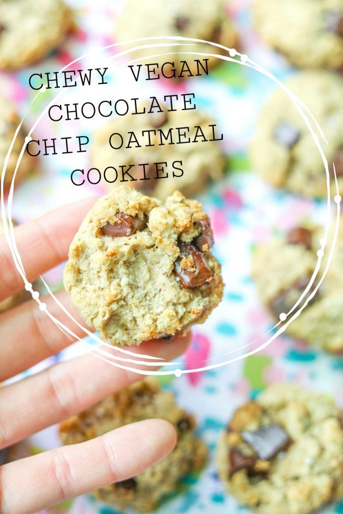 Healthy & Vegan Chewy Chocolate Chunk Oatmeal Cookies