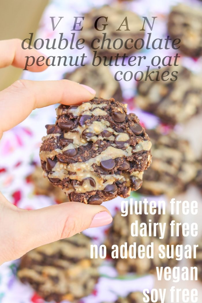 Healthy Double Chocolate Peanut Butter Oatmeal Cookies (Vegan, Dairy Free, Gluten Free, Sugar Free, Soy Free)