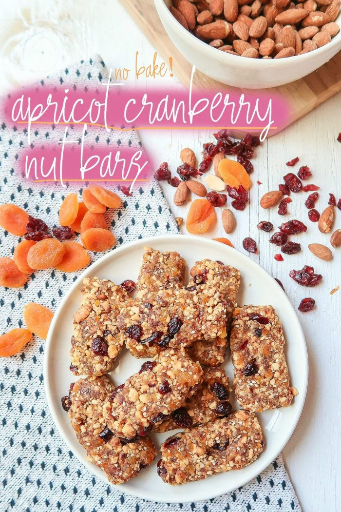 No Bake Apricot Cranberry Nut Bars