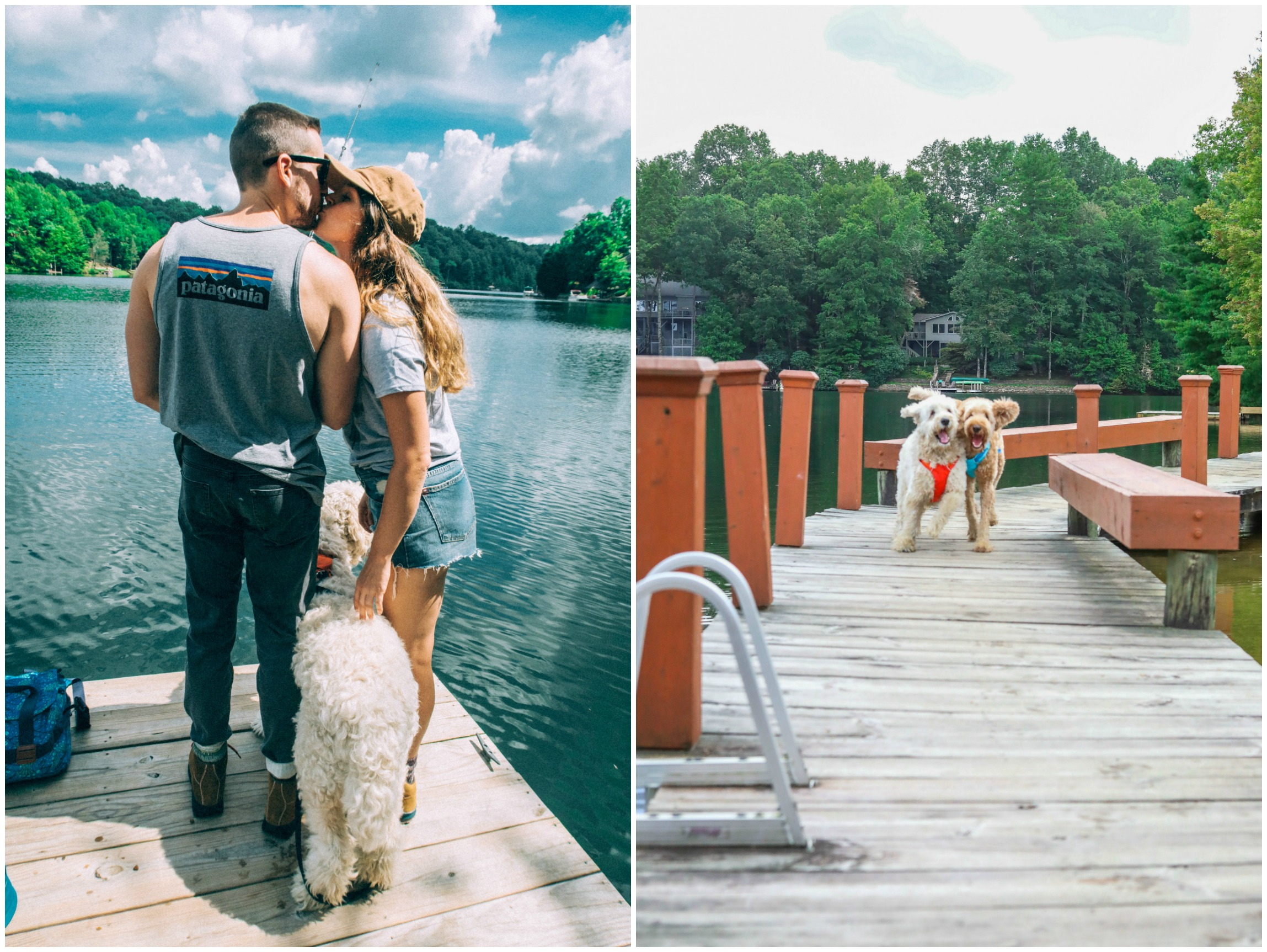 couples hiking, dogs, ruffwear, lake, mountain trip, hike, camp