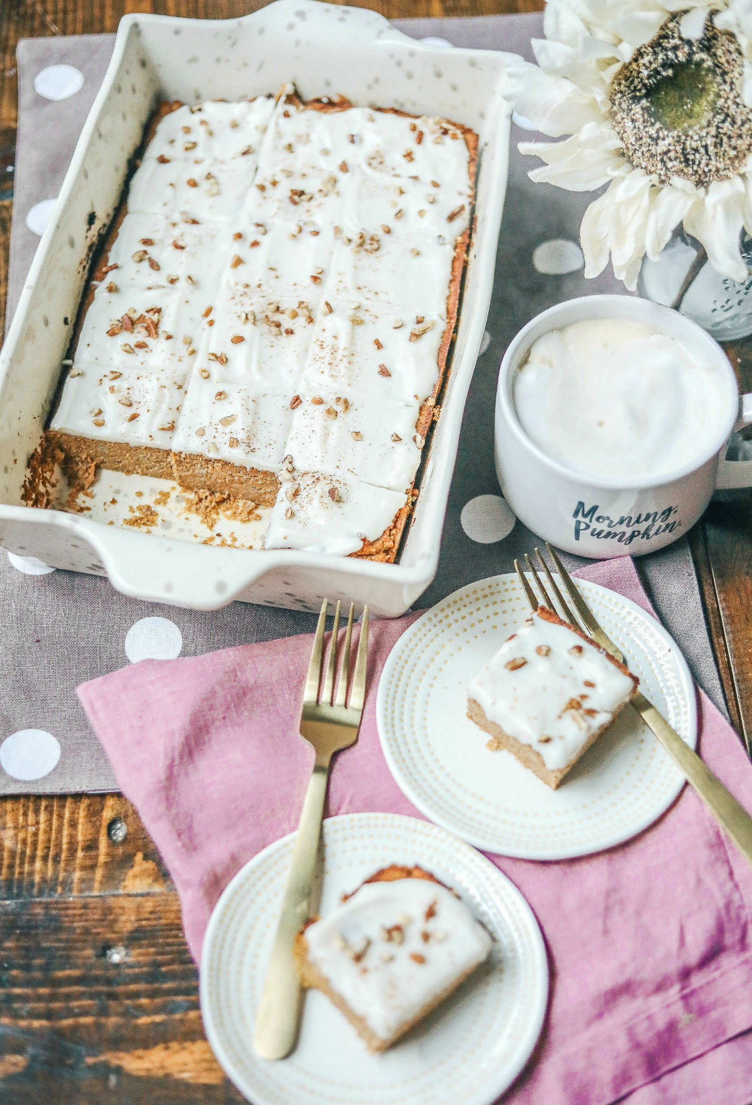 The Best Grain-Free Pumpkin Spice Bars with a Dairy-Free Cream Cheese Frosting  ( No added sugar & lower carb)