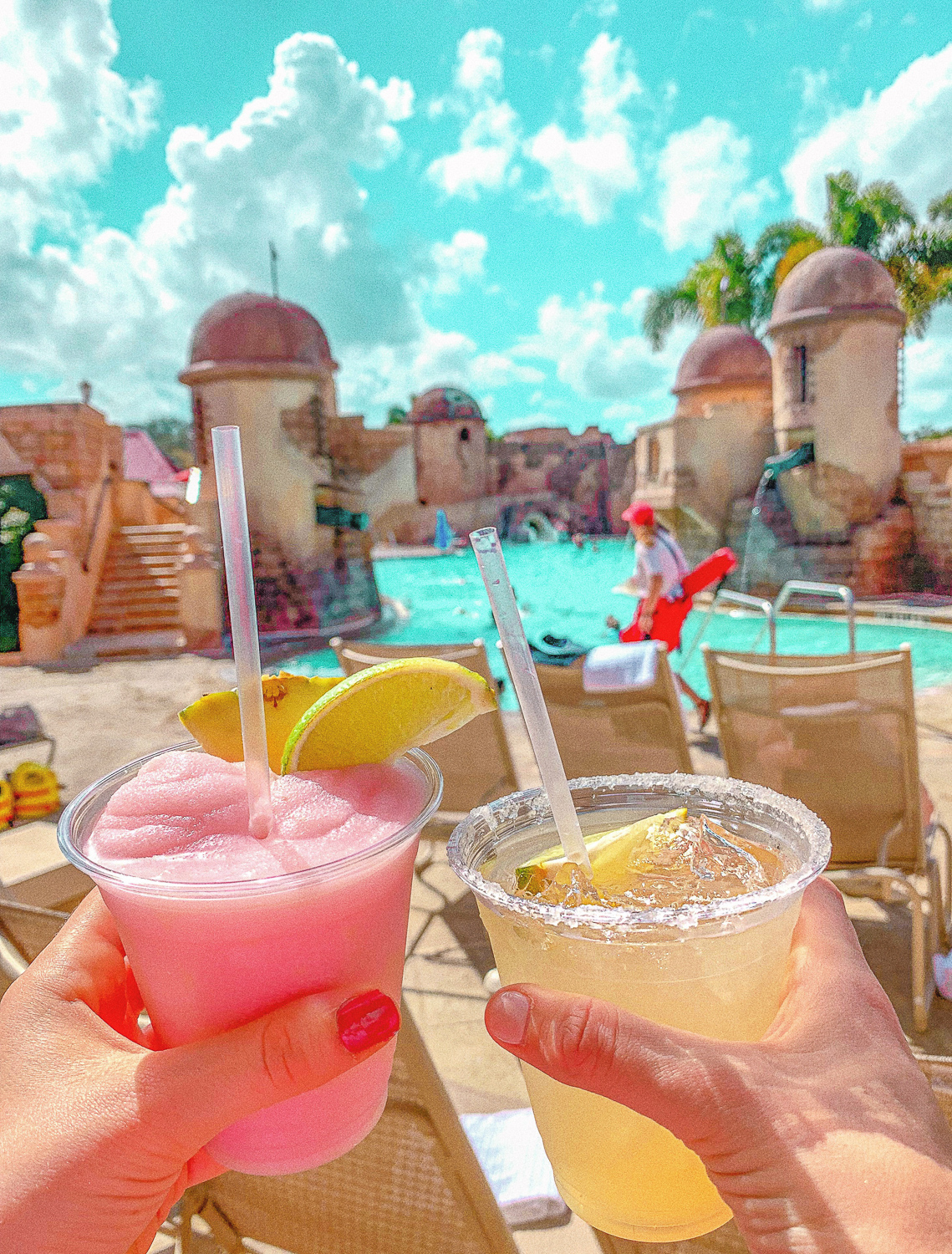 Walt Disney World Itinerary Caribbean Beach Resort Banana Cabana Pink Guava Drink Margaritas