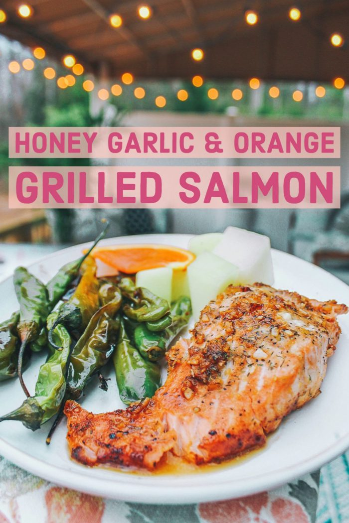 Honey Garlic & Orange Grilled Salmon w/ Shishito Peppers