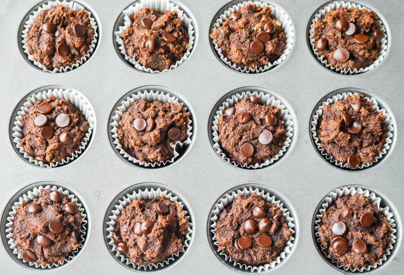 double chocolate banana almond butter muffins gluten free vegan low sugar low carb breakfast healthy dairy-free snacking almond butter