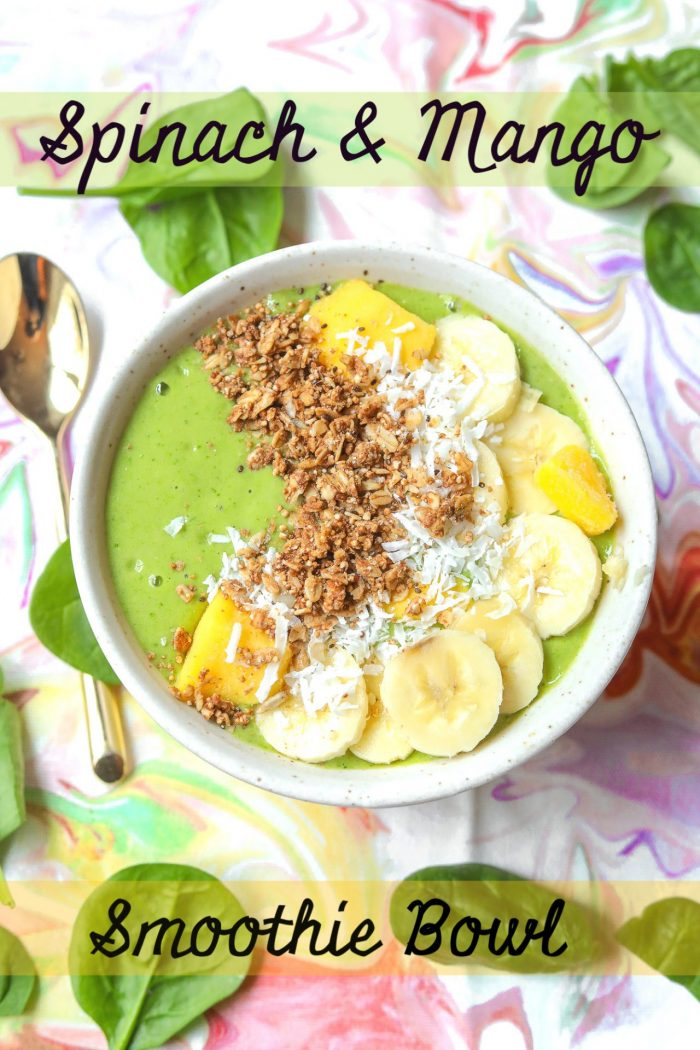 Vegan Protein Spinach & Mango Green Smoothie Bowl 🌱