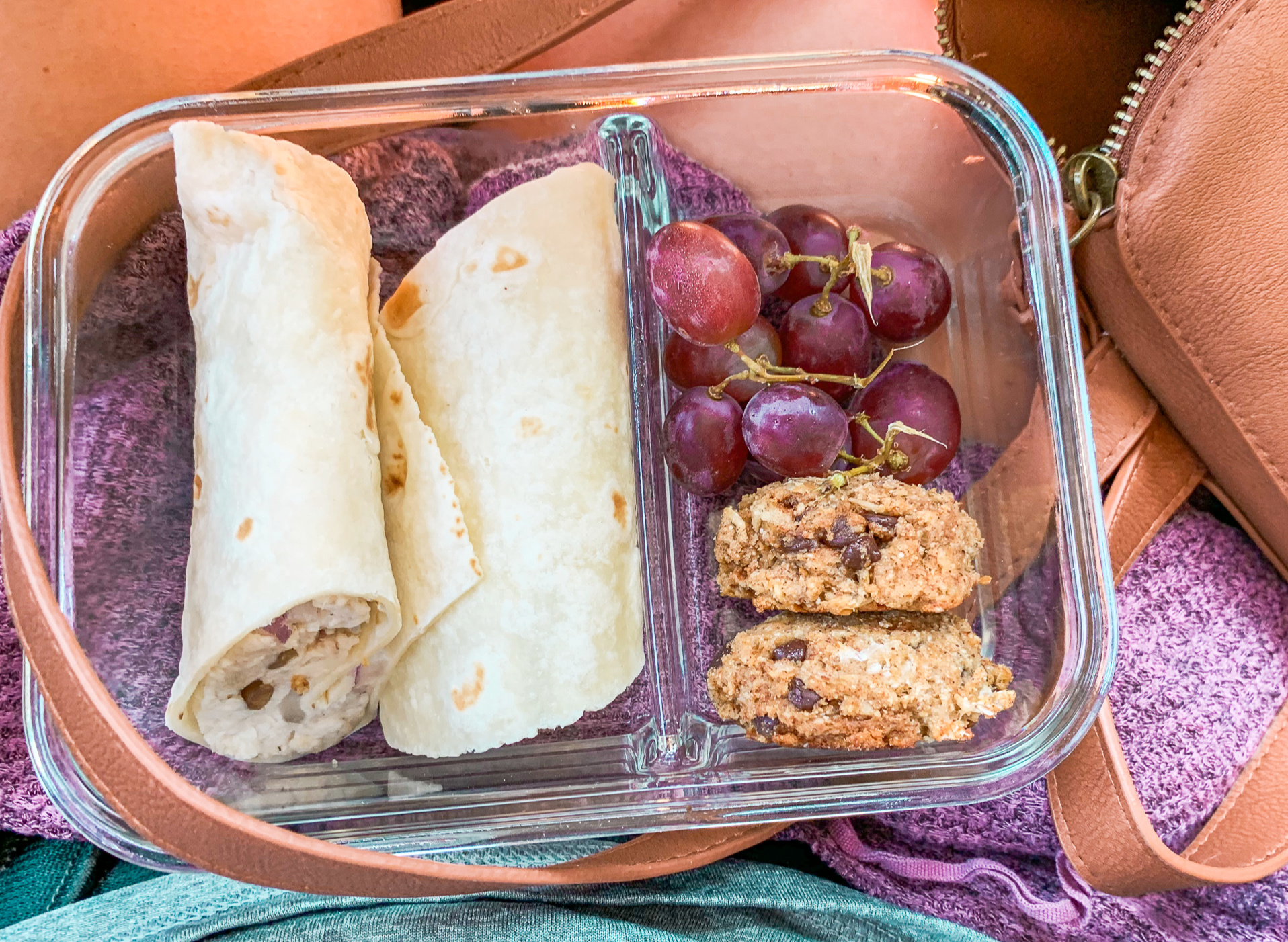 healthy dairy free chicken salad wrap lunch to go prepped lunch food on the go grapes road trip