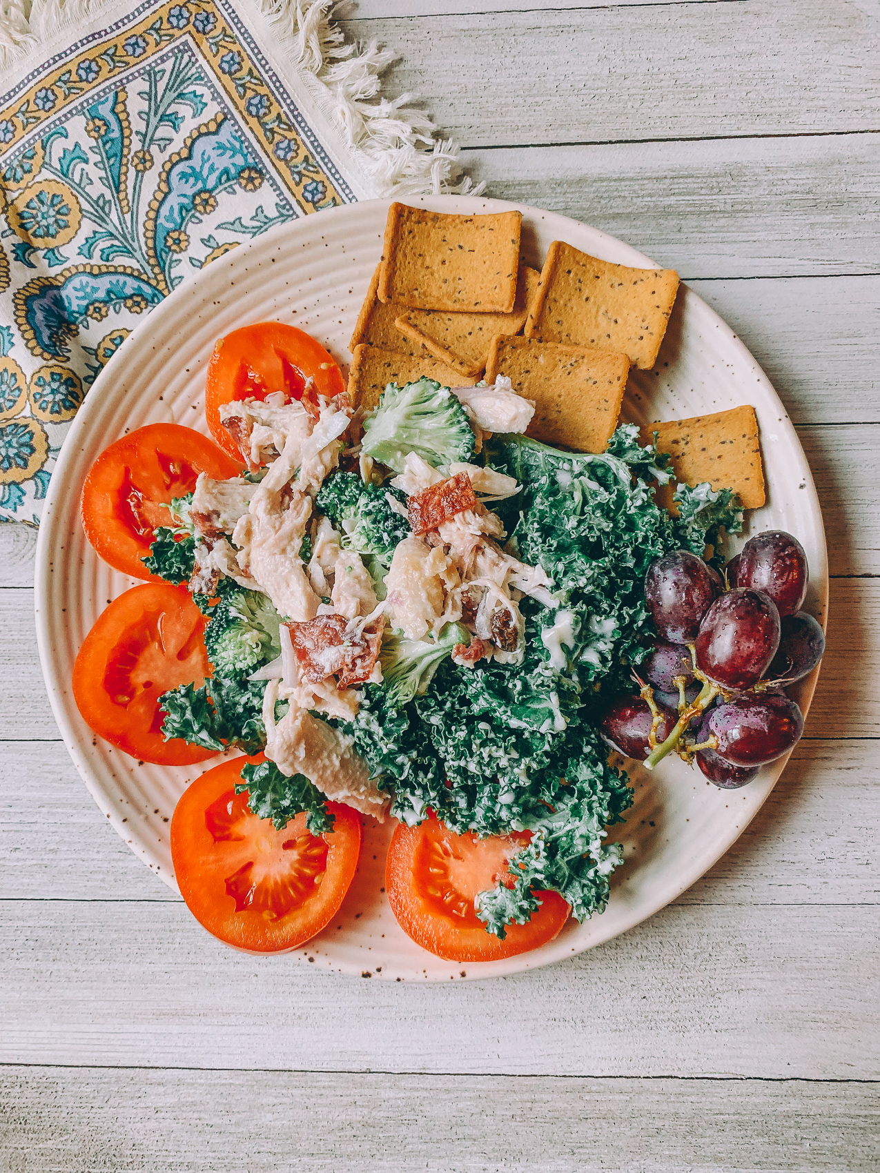 healthy gluten and dairy free chicken salad gluten free Mary's crackers lunch low carb