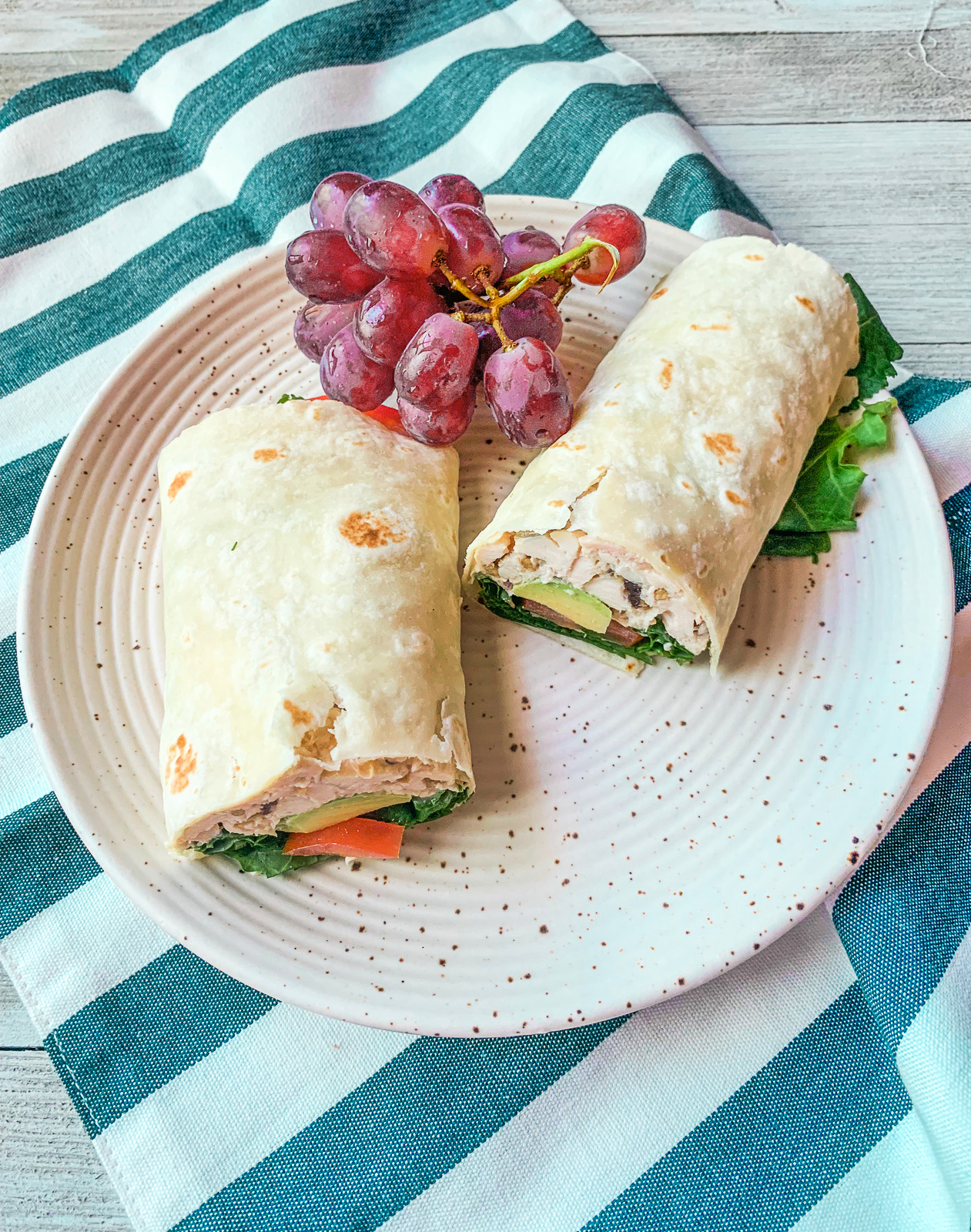 dairy-free chicken salad wrap with gluten free tortilla