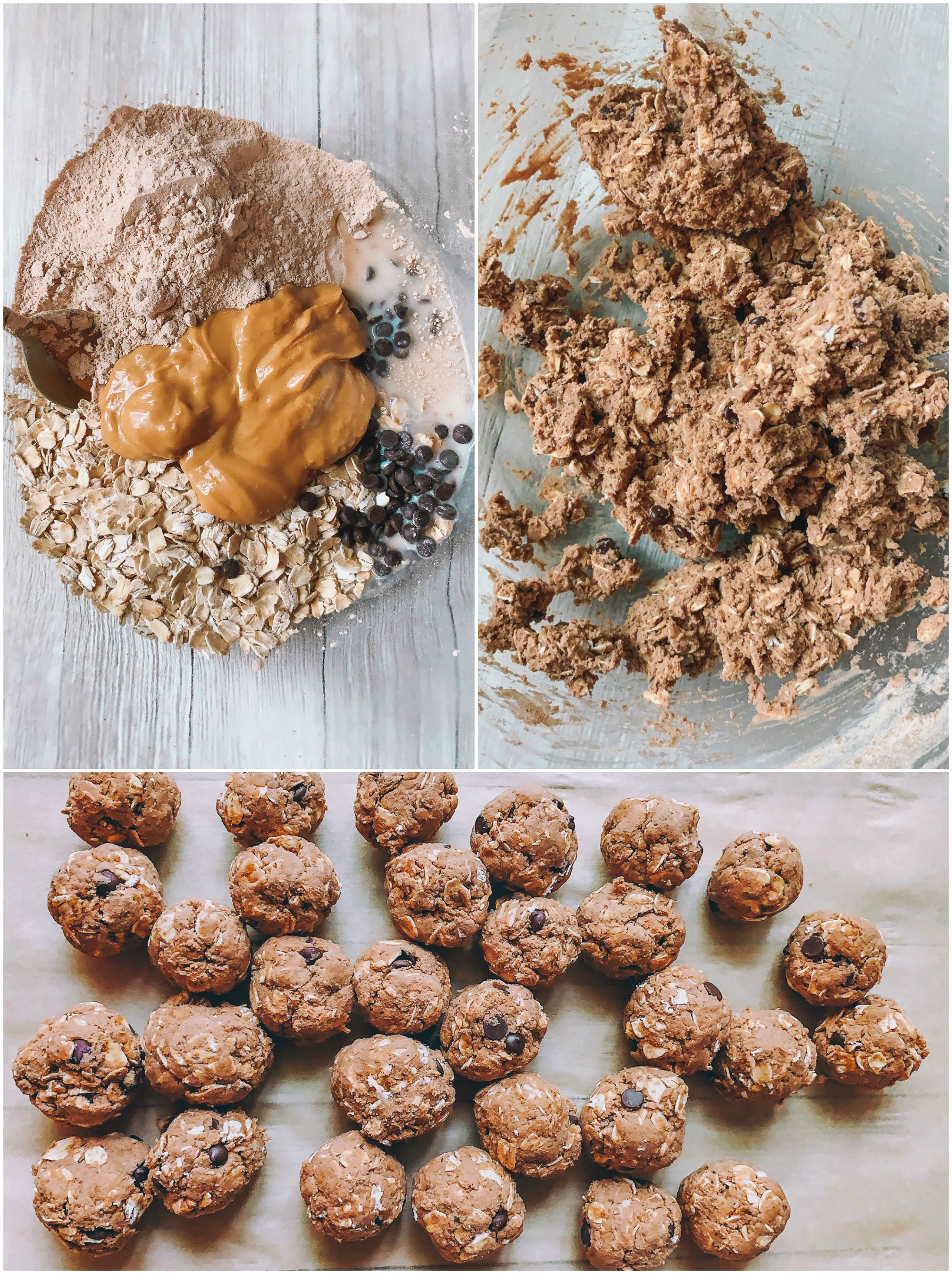 protein balls, healthy snacks, chocolate chips, peanut butter, four ingredients, oatmeal,