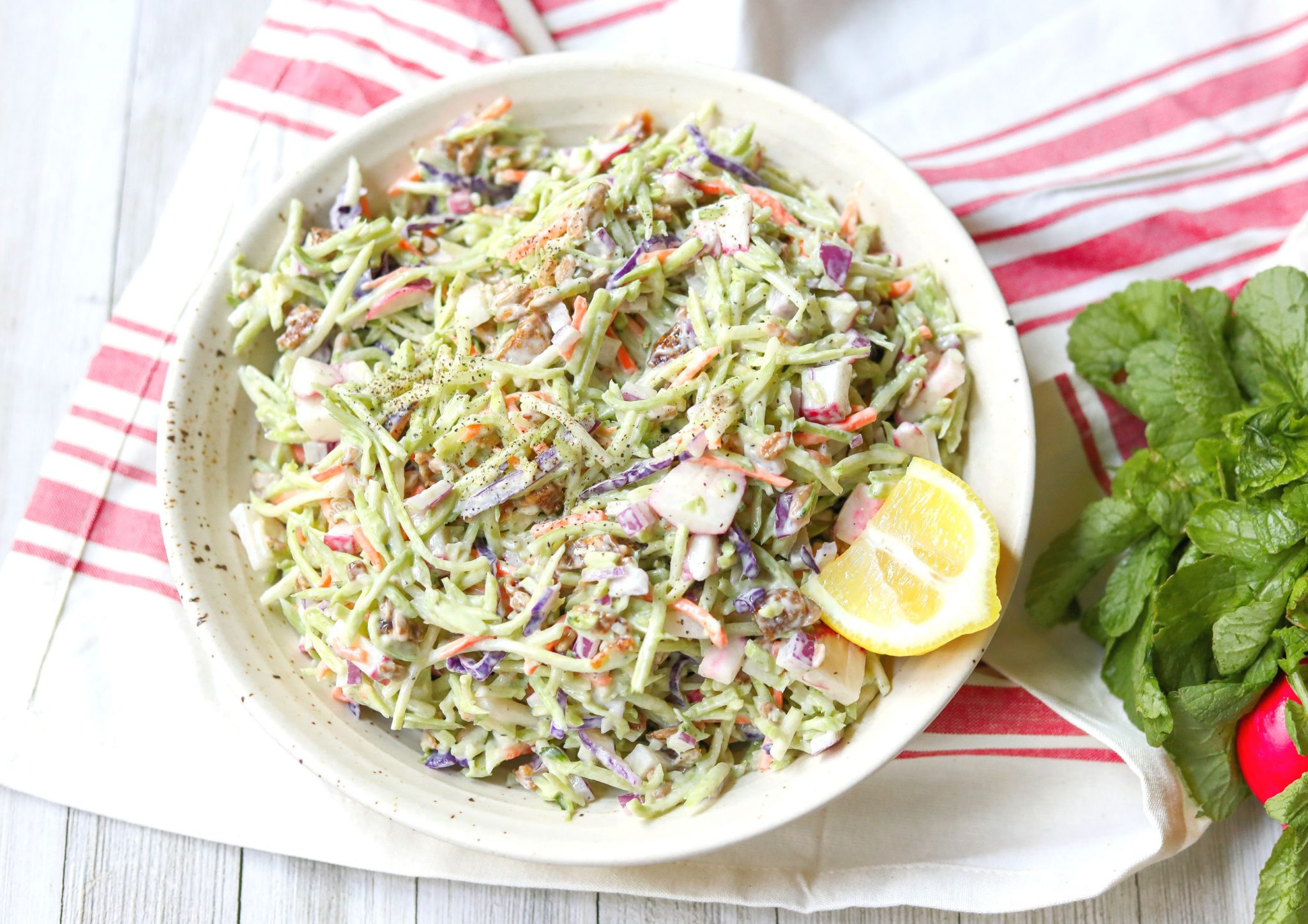 vegan broccoli salad with figs tahini dairy free gluten free healthy recipes summer salad