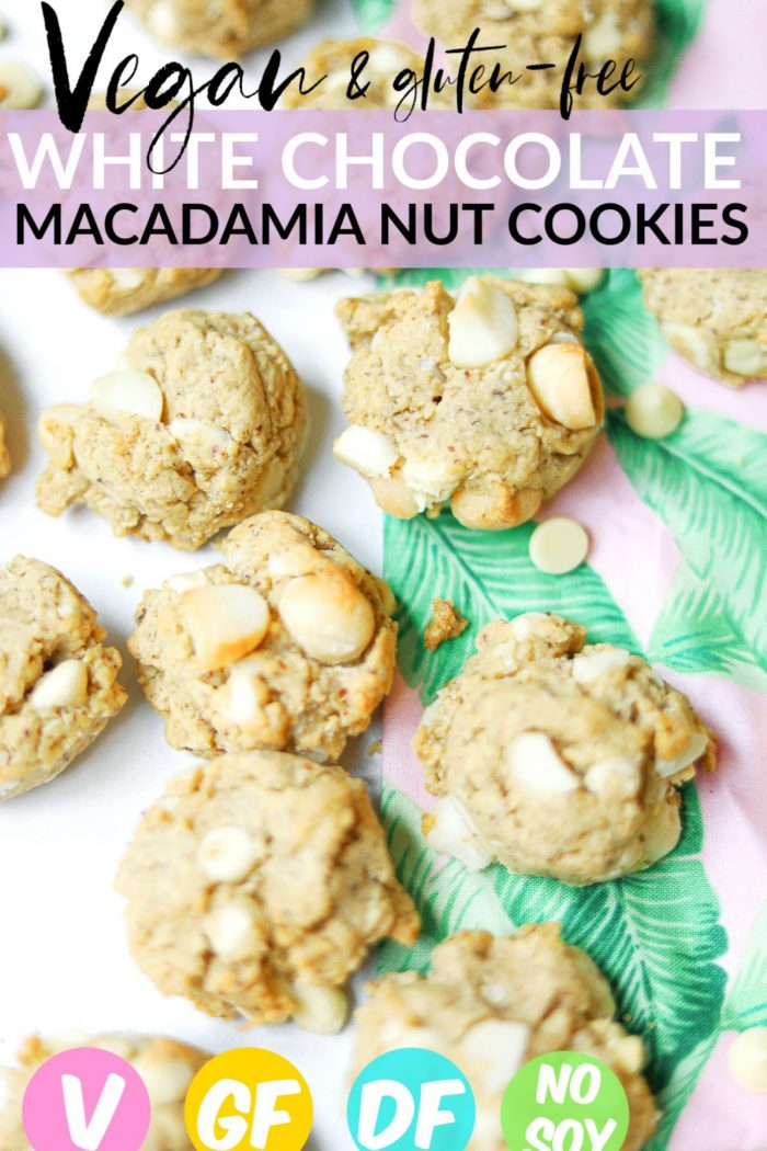 Vegan White Chocolate Macadamia Nut Cookies & GF