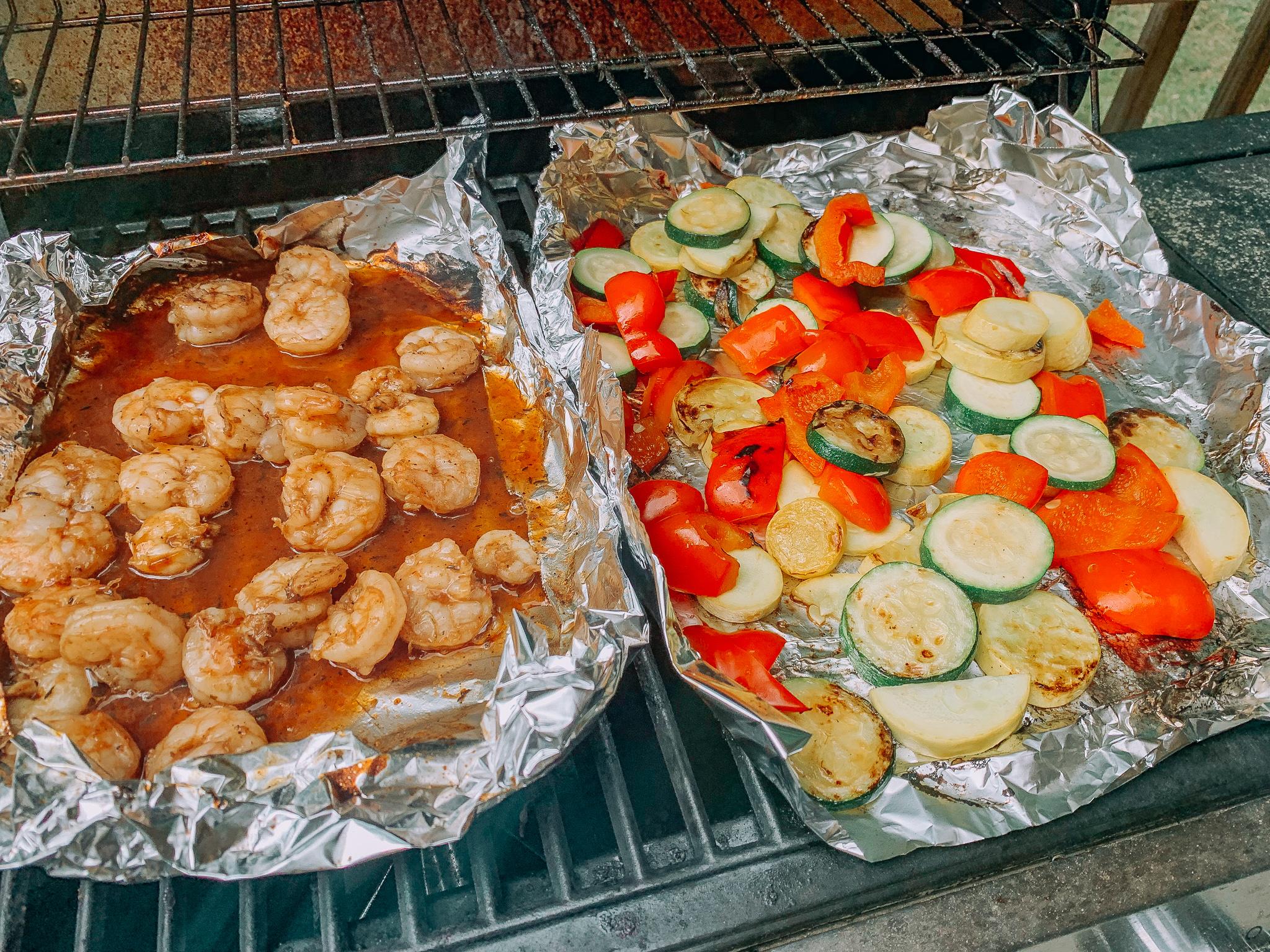 grilled vegetables shrimp healthy food grilling summer seafood