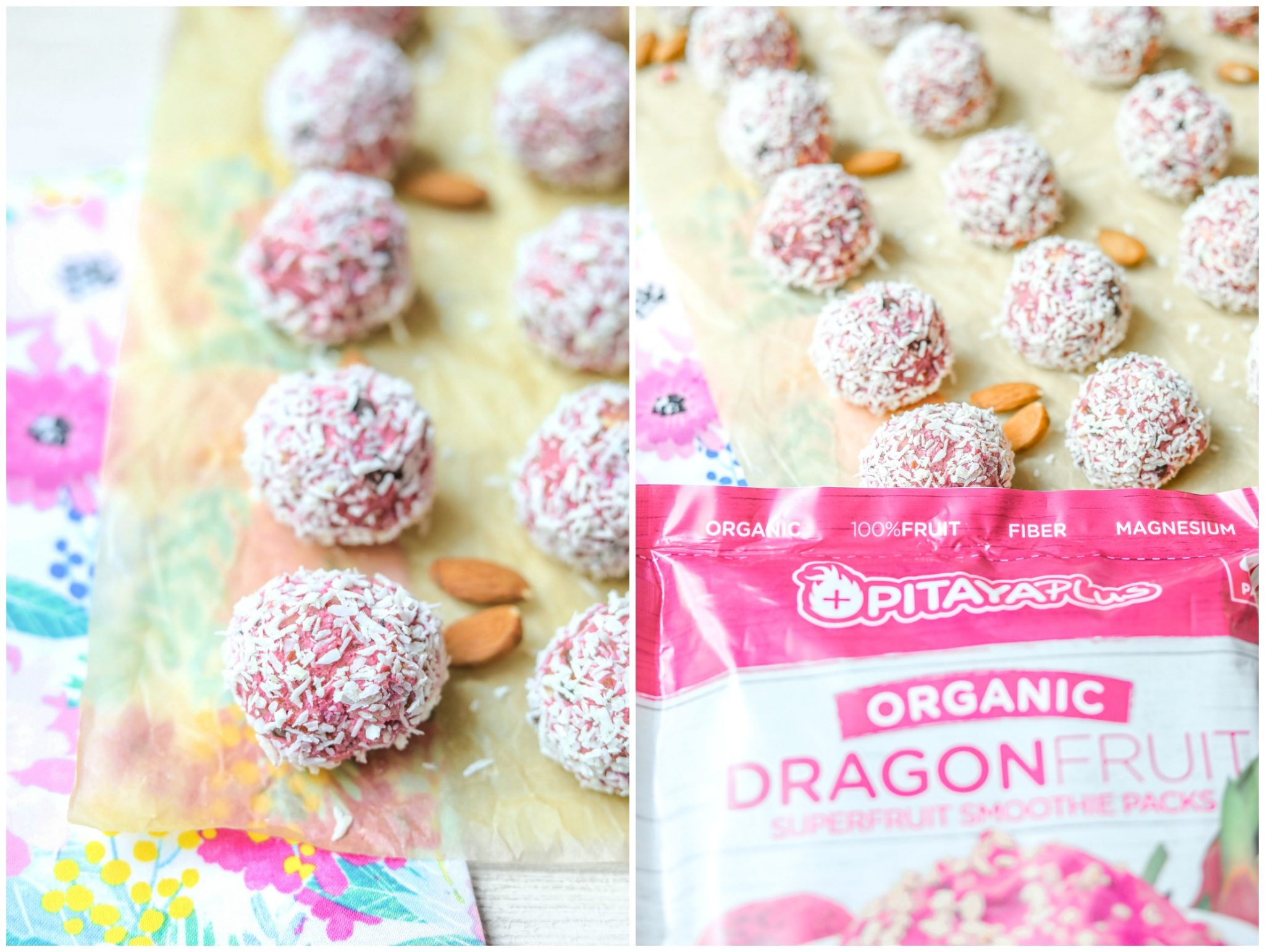 Delicious energy protein balls filled with dragon fruit almonds coconut protein powder dates and vegan chocolate chips gluten free snack dairy free gluten free vegan plant based healthy on the go recipe no bake simply taralynn blog kid friendly