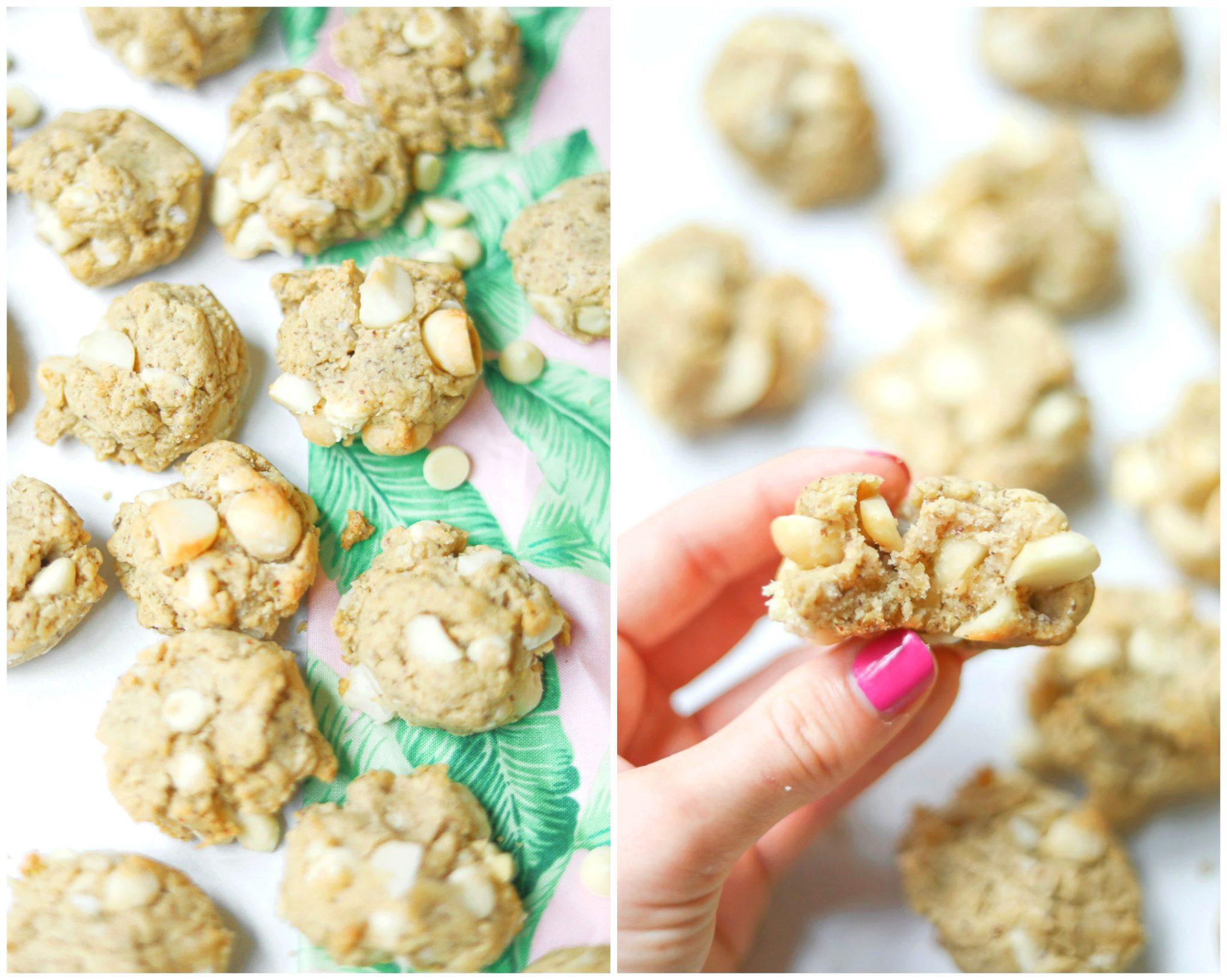 white chocolate chips gluten free dairy free lemon almond healthy vegan cookies dessert macadamia nuts white chocolate chips snacks