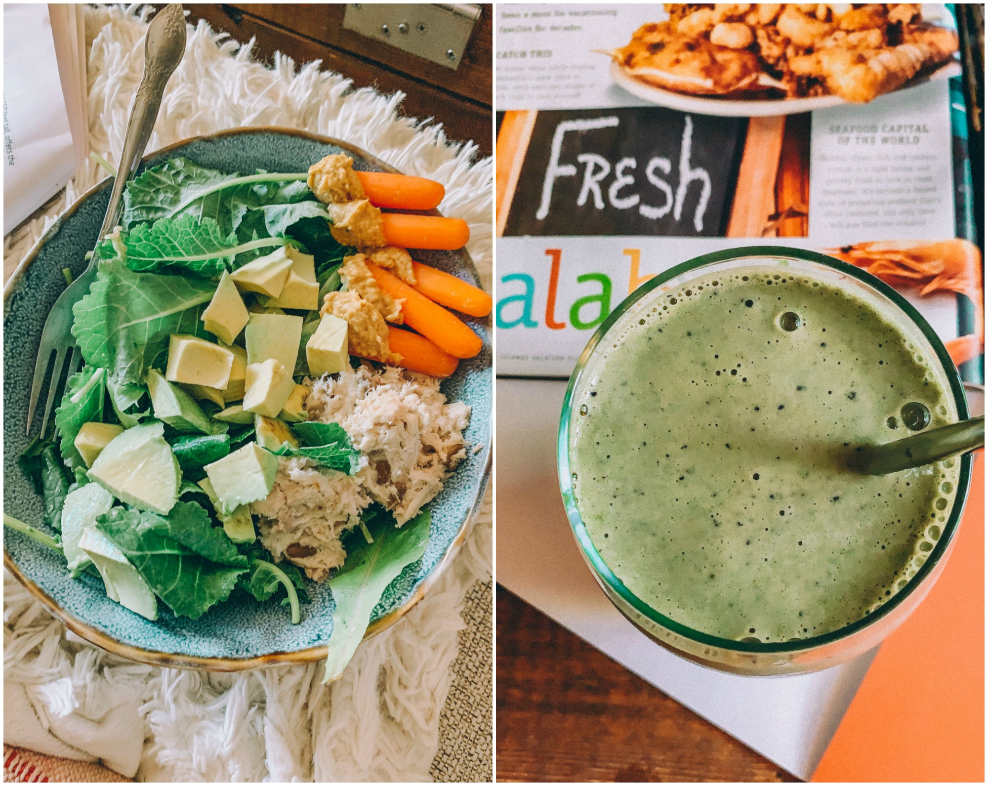healthy food chicken salad protein iron baby kale smoothie green dairy free gluten free hummus carrots