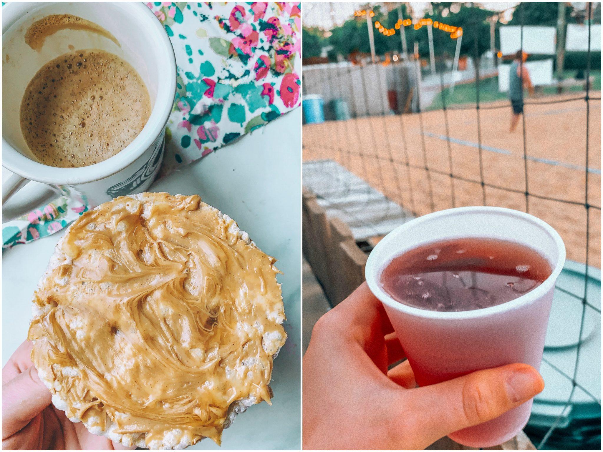 beer garden cider volleyball Charlotte North Carolina peanut butter gluten free honey snack rice cake coffee