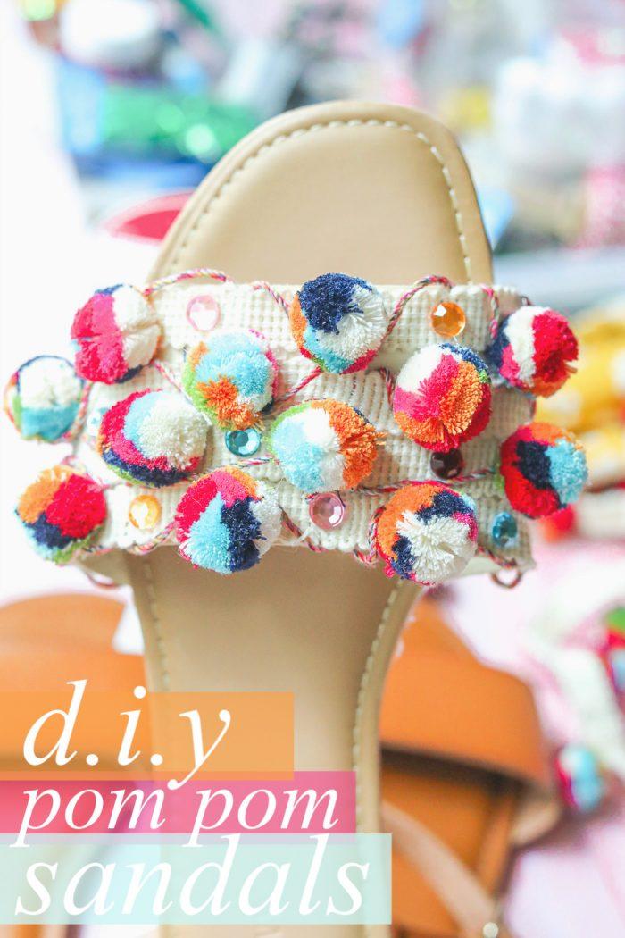 Diy: Inexpensive Colorful Pom Pom Sandals for Summer 👡
