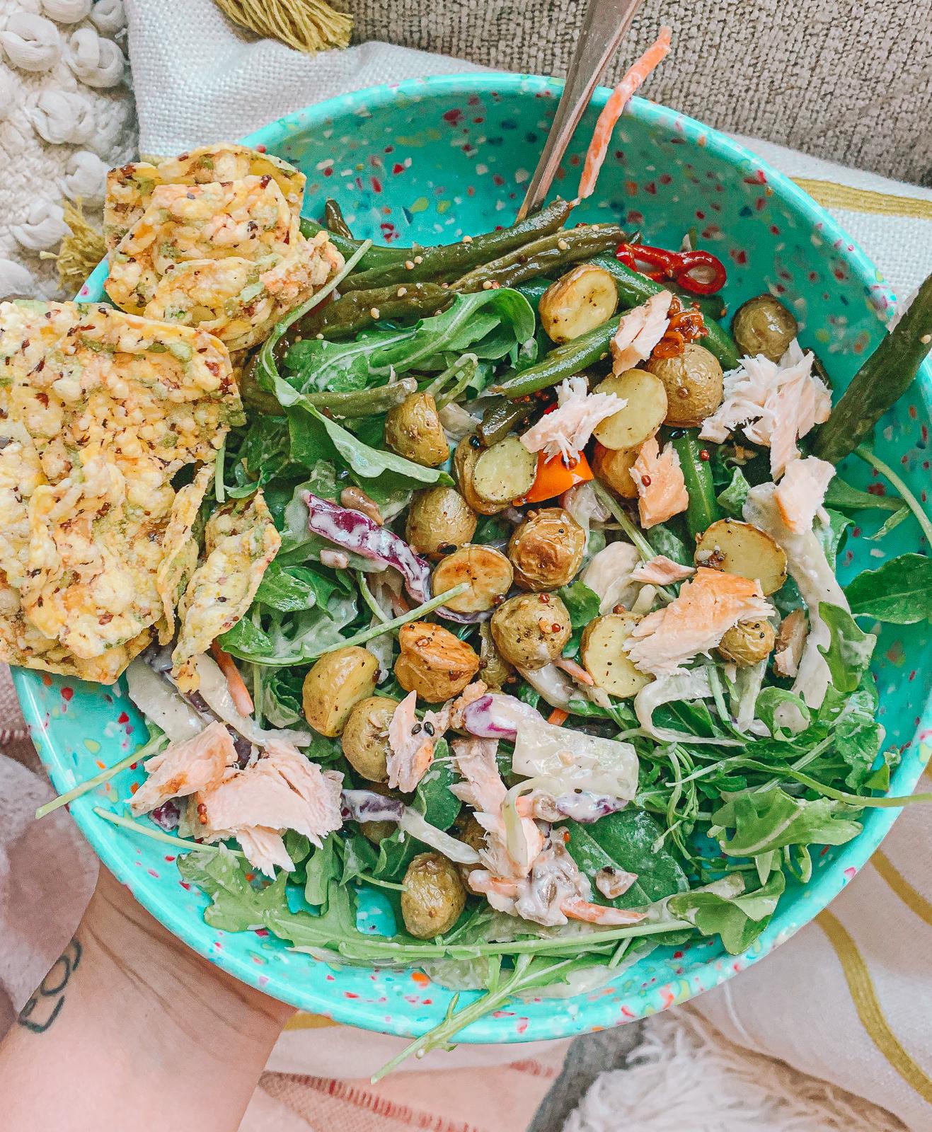 salad, lunch, salmon, dairy free, gluten free, onion ,