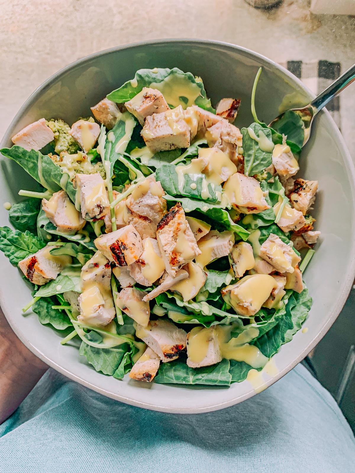 honey mustard, salad, kale salad, grilled chicken, dairy free, gluten free