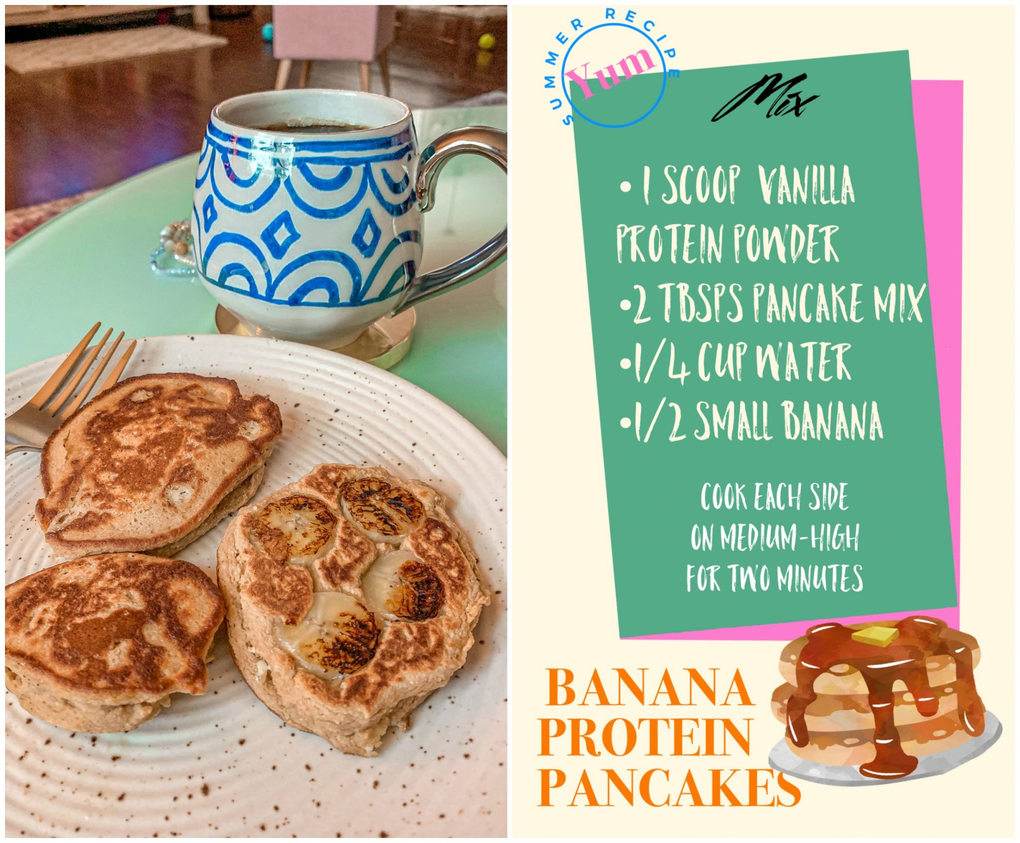 homemade protein pancakes, gluten free, paleo, lifestyle, vanilla, banana, easy, two ingredients, three ingredients, low calorie, lower carb, post run food