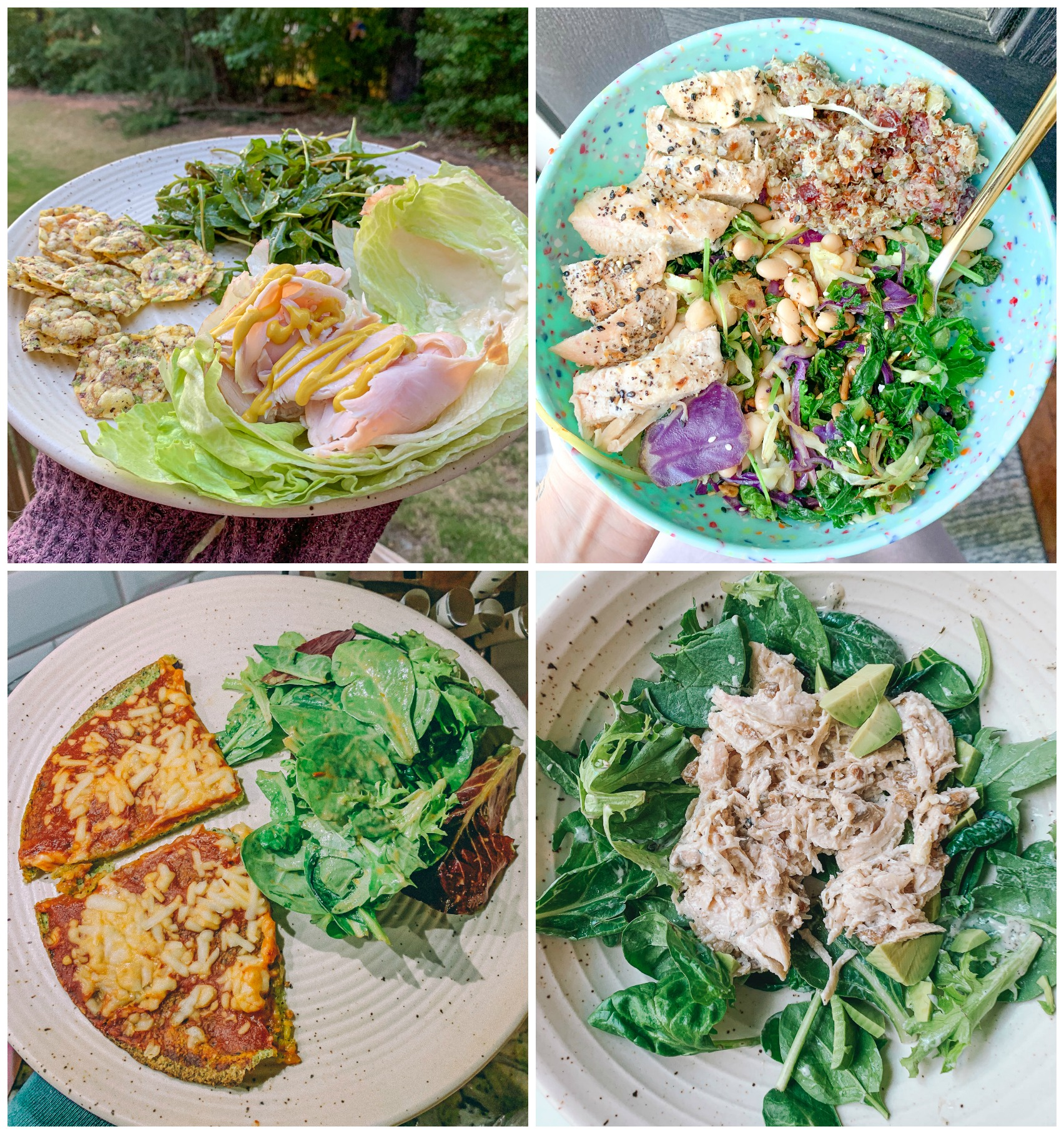low carb dinner, chicken salad, kale, white beans, low carb, gluten free, quinoa, high protein, lunch, lifestyle lettuce wrap taco night, high protein, low carb, gluten free, healthy, salsa, guacamole, Spanish rice, dairy free yogurtdairy free chicken salad, gluten free dinner lunch salad, arugula, crackers, gluten free, turkey, sprouts, food, easy dinner, lettuce, dairy free, mayo dairy free, vegan, gluten free, broccoli, kale, pizza, vegan cheese, so delicious, dinner night