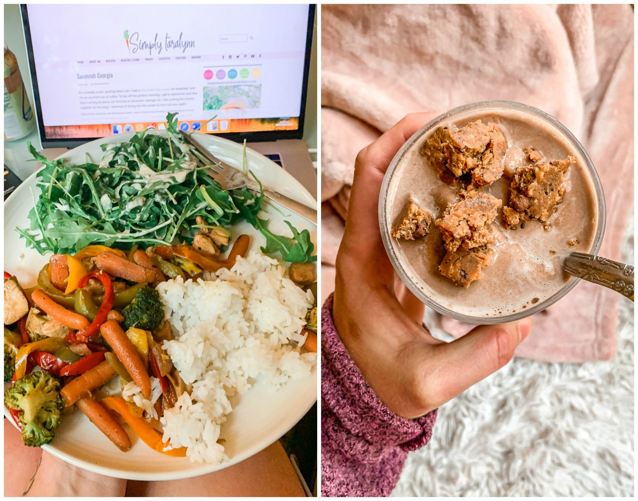 smoothies, weekly recap post, healthy food, lifestyle, rice, salad, stir fry, protein powder, almond milk, gluten free