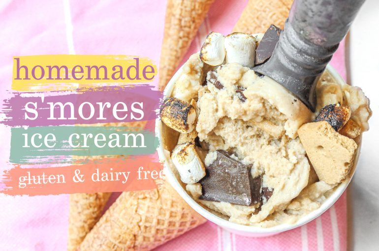 healthy ice cream, s'mores, plant based, vegan, human chocolate, hu, dairy free, coconut cream, s'mores, campfire, roasted marshmallows, toasted marshmallows, dark chocolate, gluten free s'mores, gluten free graham crackers, vegan marshmallows, gluten and dairy free, dairy free, recipes, eat, homemade ice cream, dessert, healthy eating, lighter, lower sugar, monk fruit,