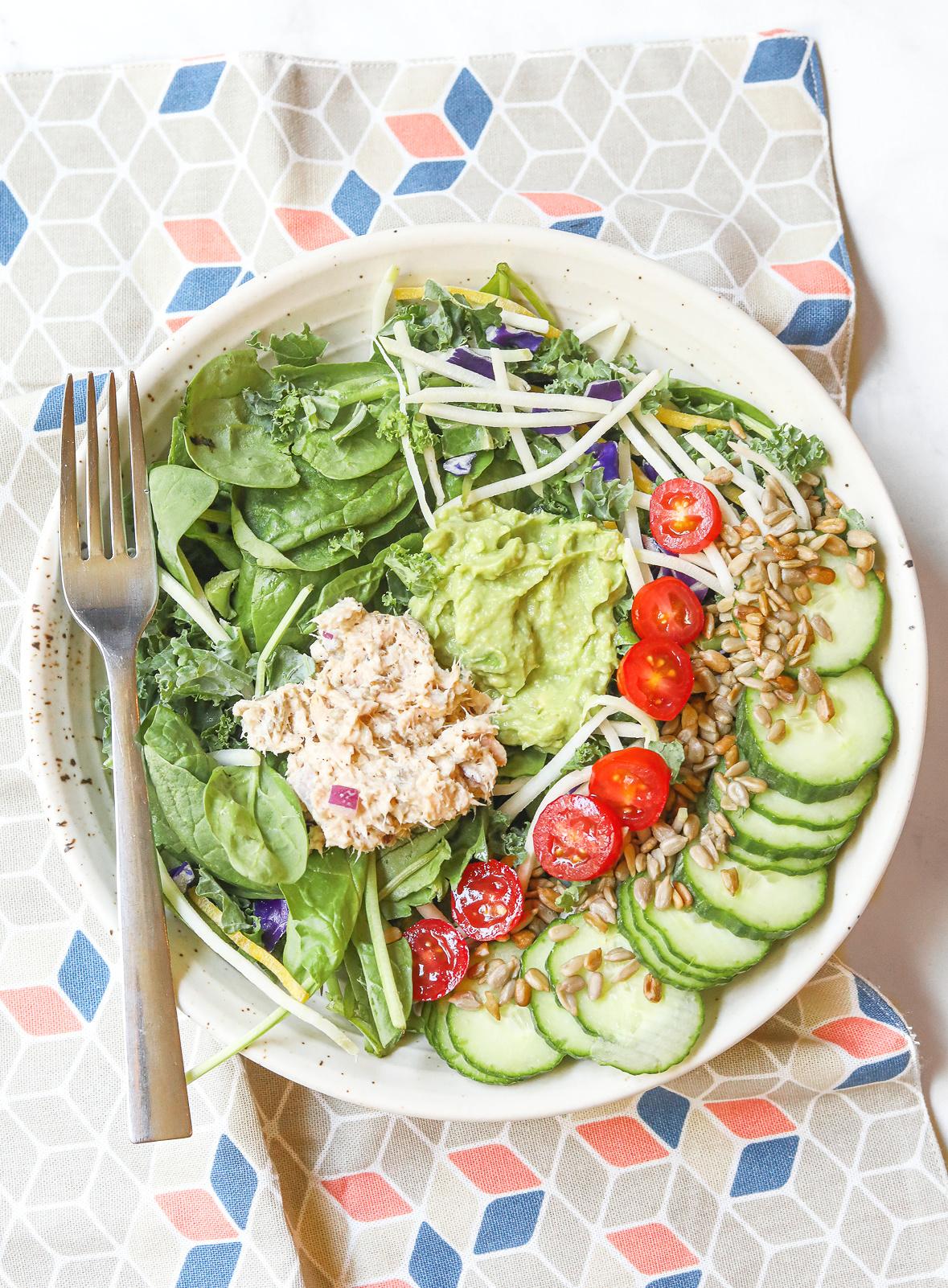 cucumber, kale salad, avocado aioli, veganise, tuna salad, sprouts, spinach, gluten free, dairy free,