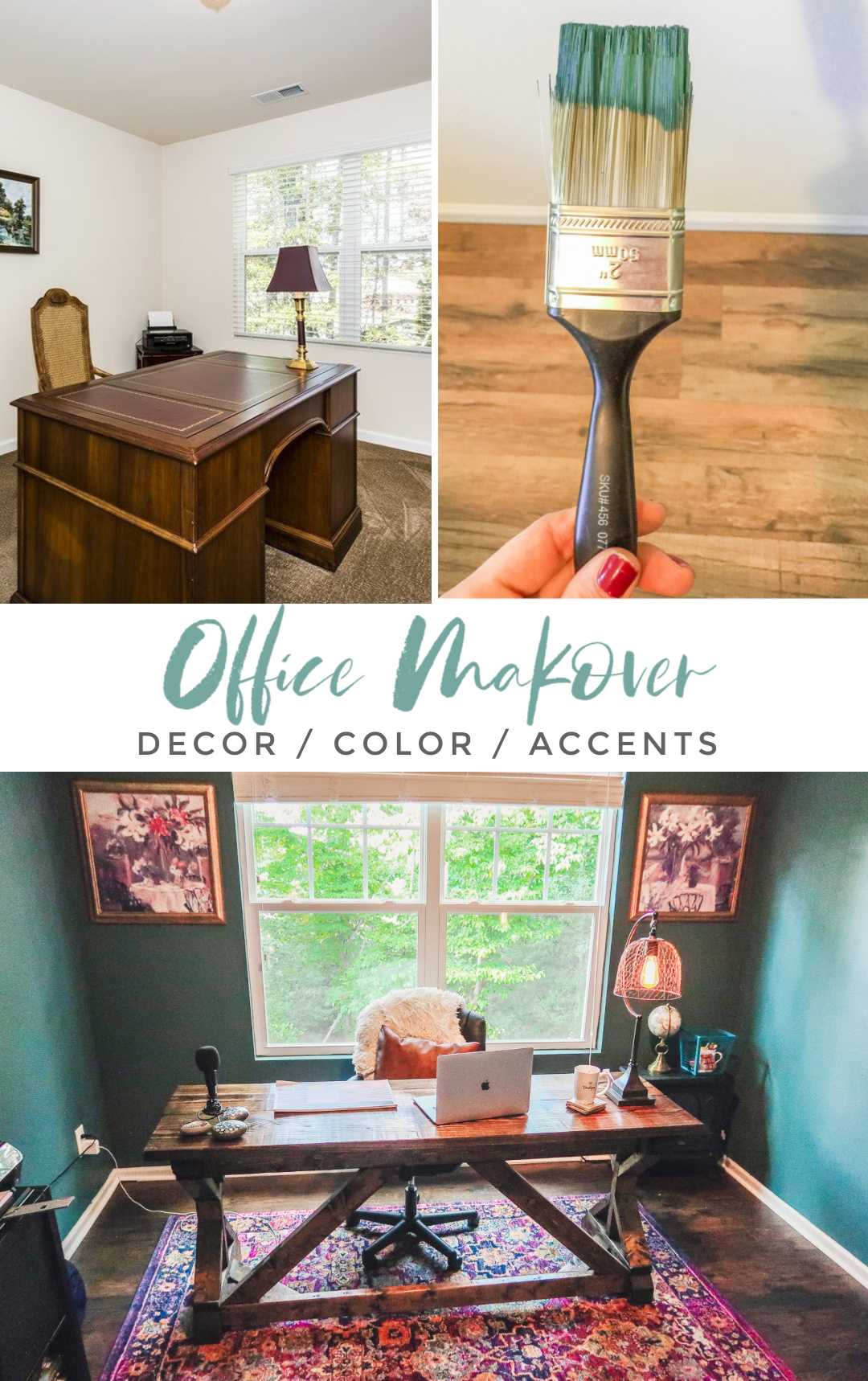 teal home office remodel