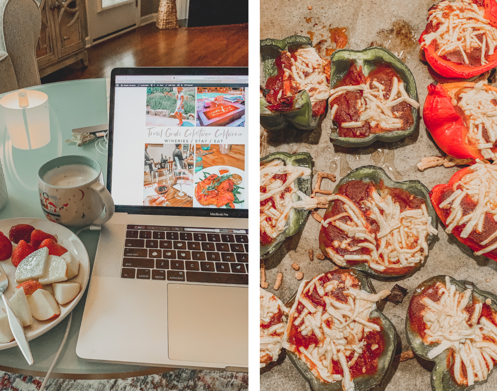 bell pepper pizzas, blogger, blogging, snacking, apples, peanut butter