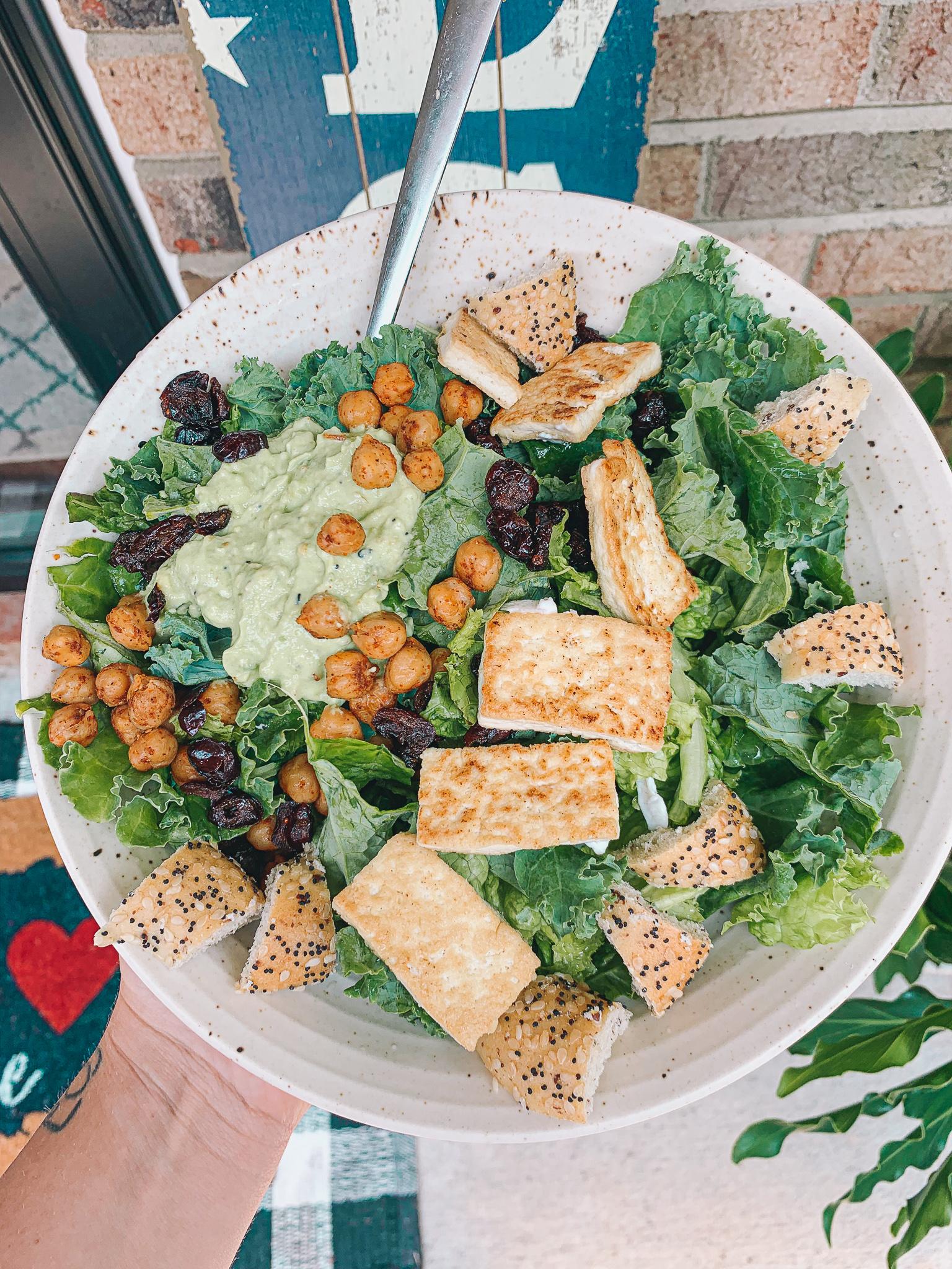 vegan food, salad, kale, homemade dressing, avocado, veganaise, chickpeas, dinner, gluten free, dairy free, low Calorie, low carb, summer eats, recap blog, healthy living lifestyle