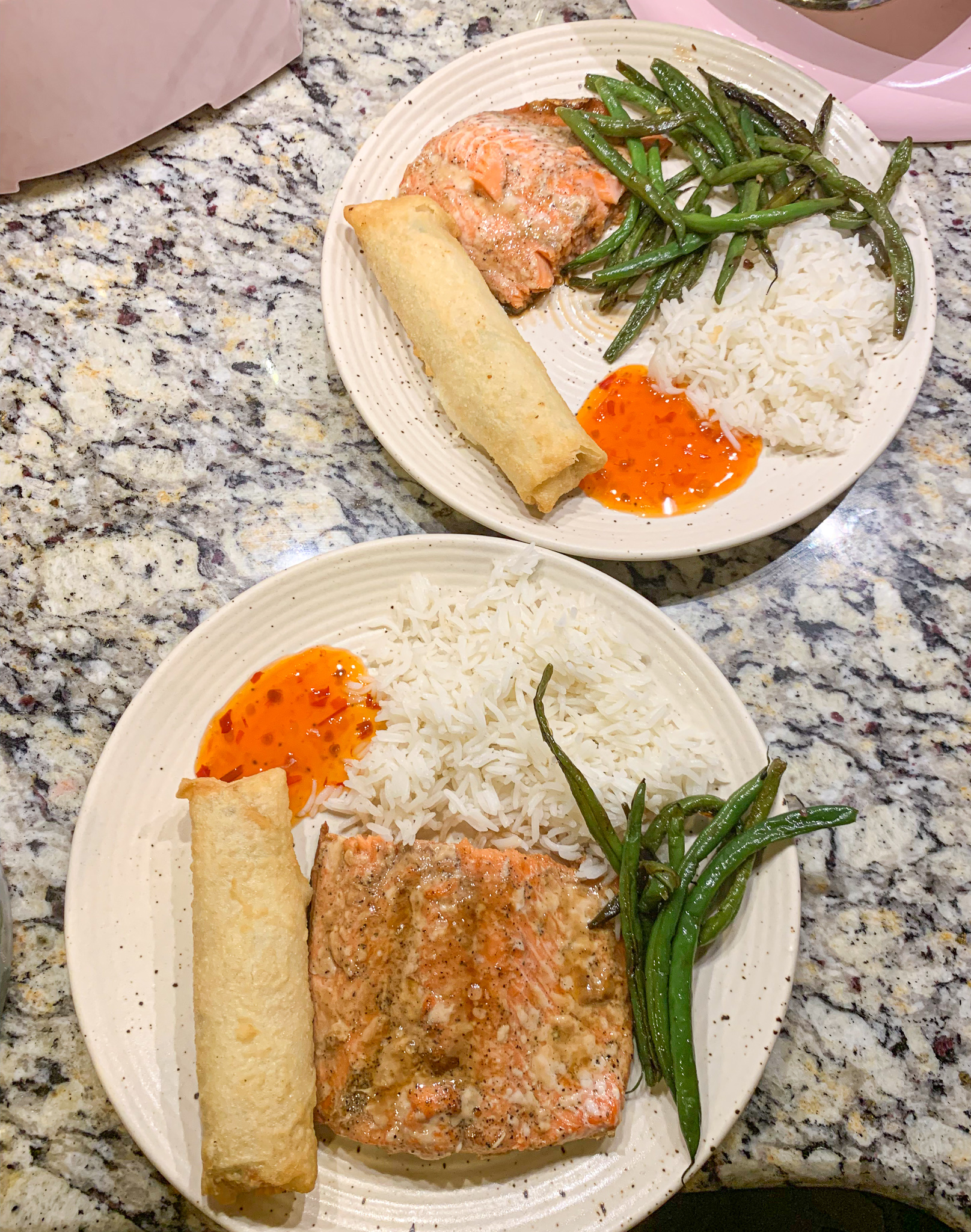 dinner, seafood, gluten free, egg rolls, chili sauce, rice, green beans, dinner, gluten free, dairy free, what to eat, summer nights, healthy living lifestyle blog