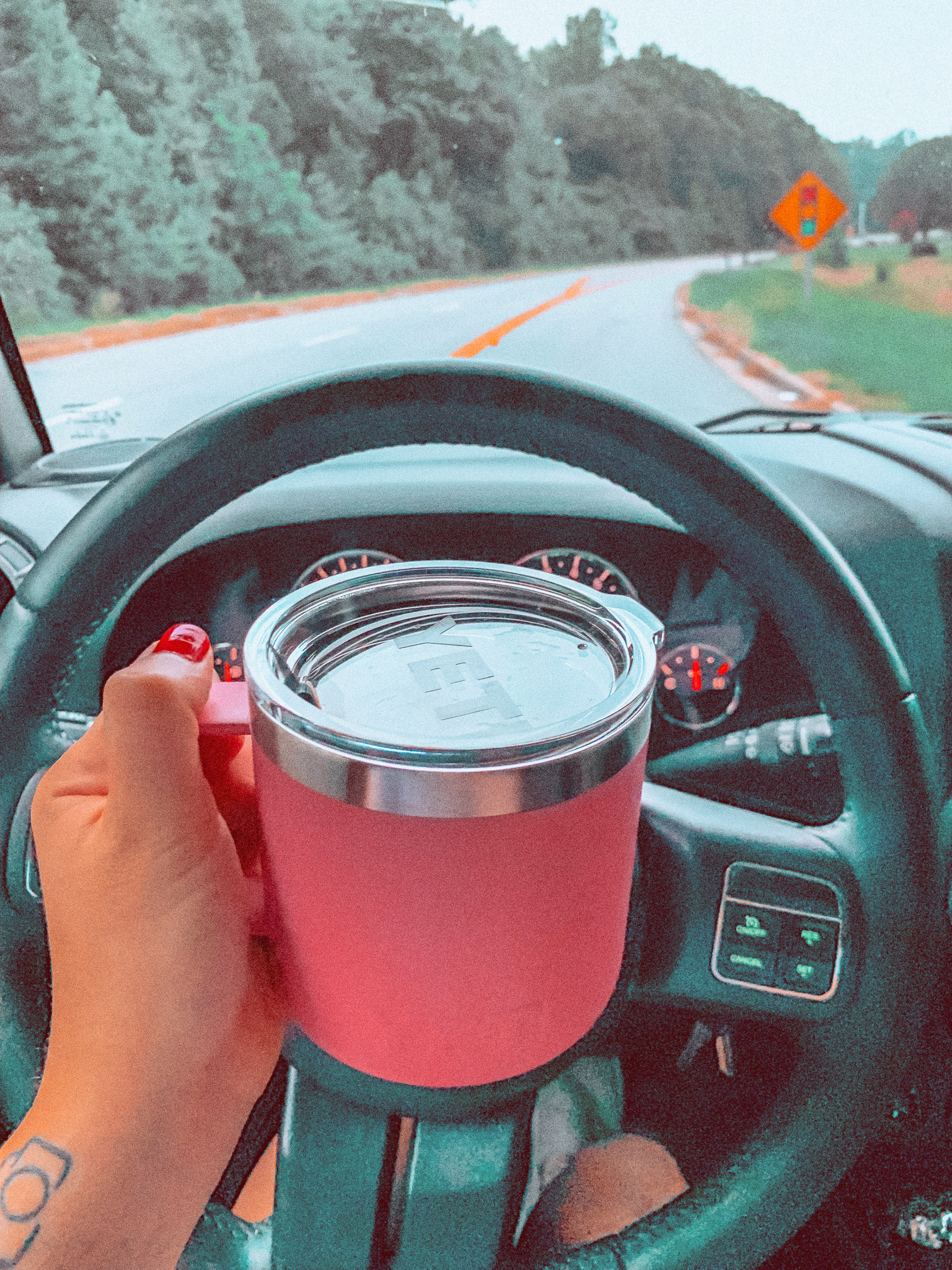 morning grind, lifestyle blogger, coffee on the road, yeti pink