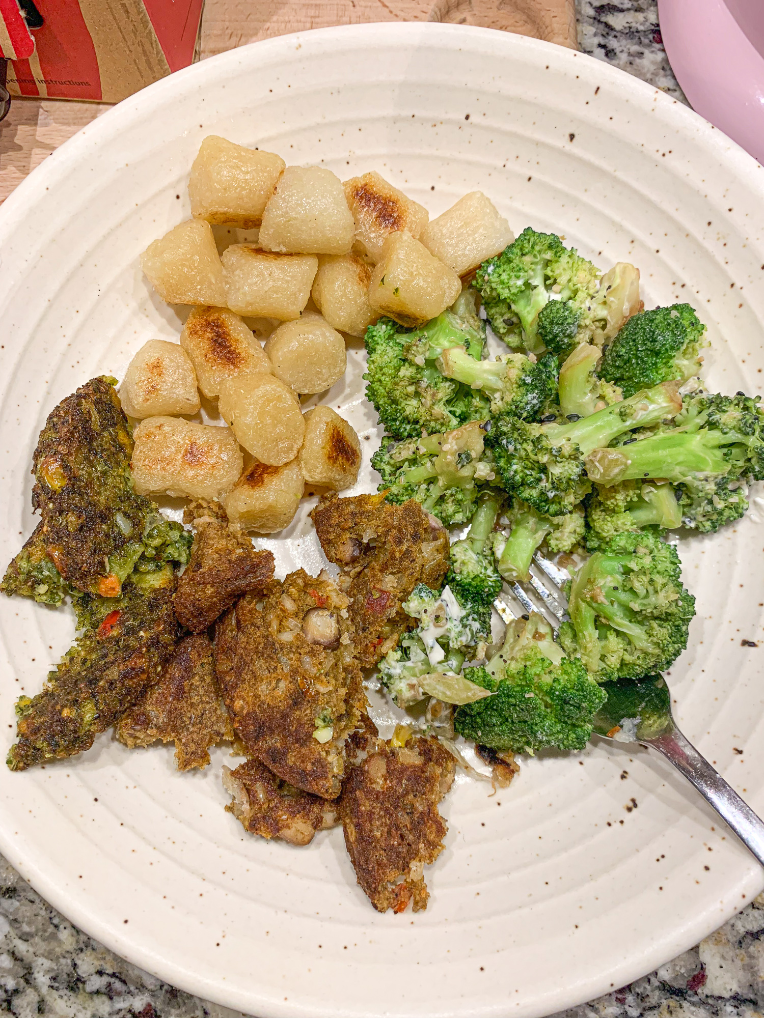 black bean burger, cauliflower gnocchi, broccoli e