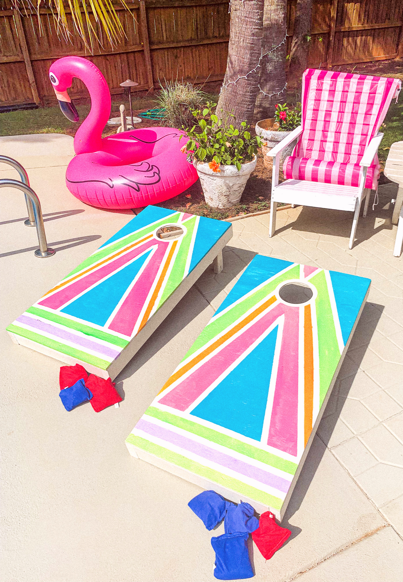 corn hole boards colorful summer