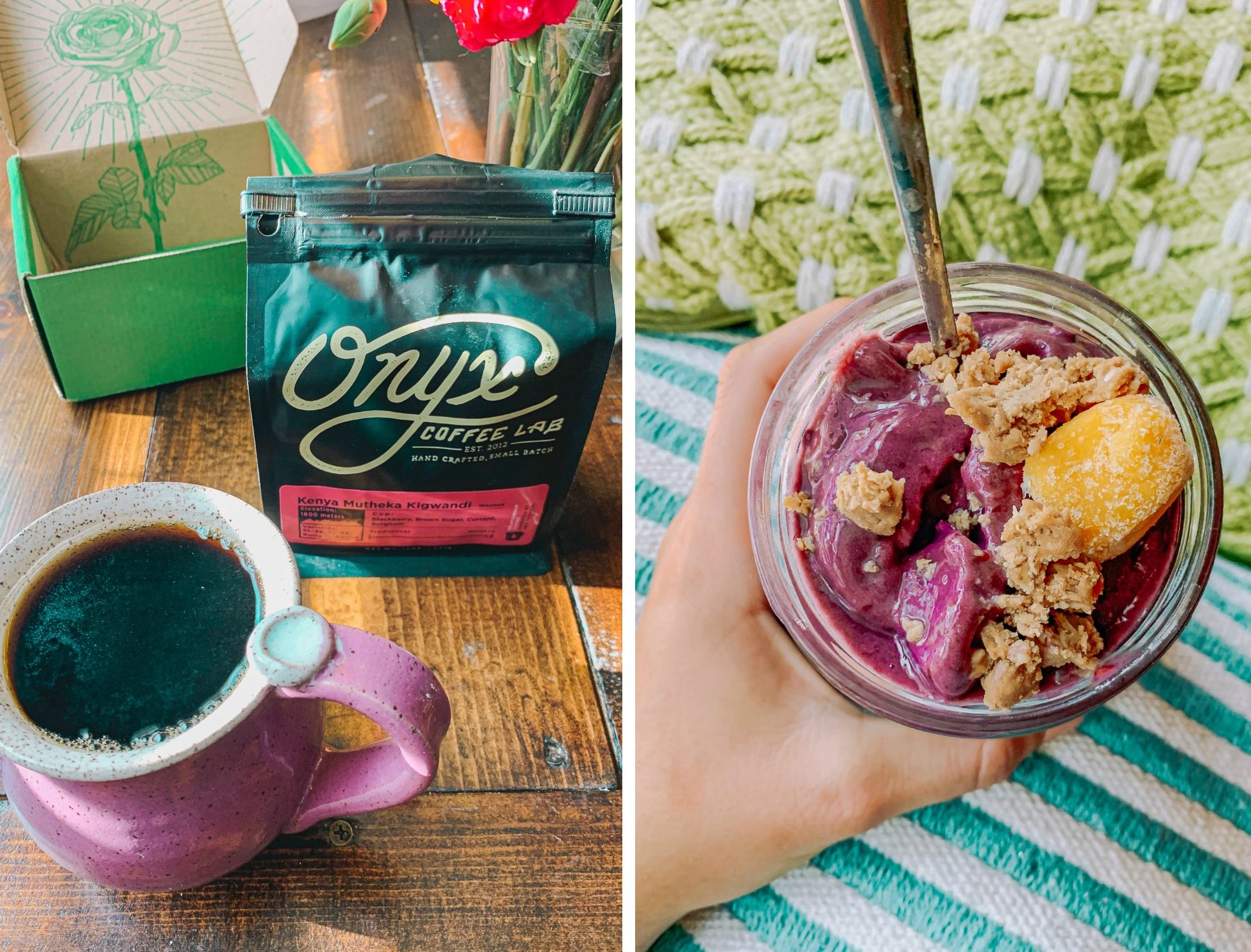 onyx coffee simply taralynn trying reviews roasters coffee in the morning drip coffee healthy smoothie, gluten free, dairy free, plant based, mango, blackberries, almond milk, granola, peanut butter