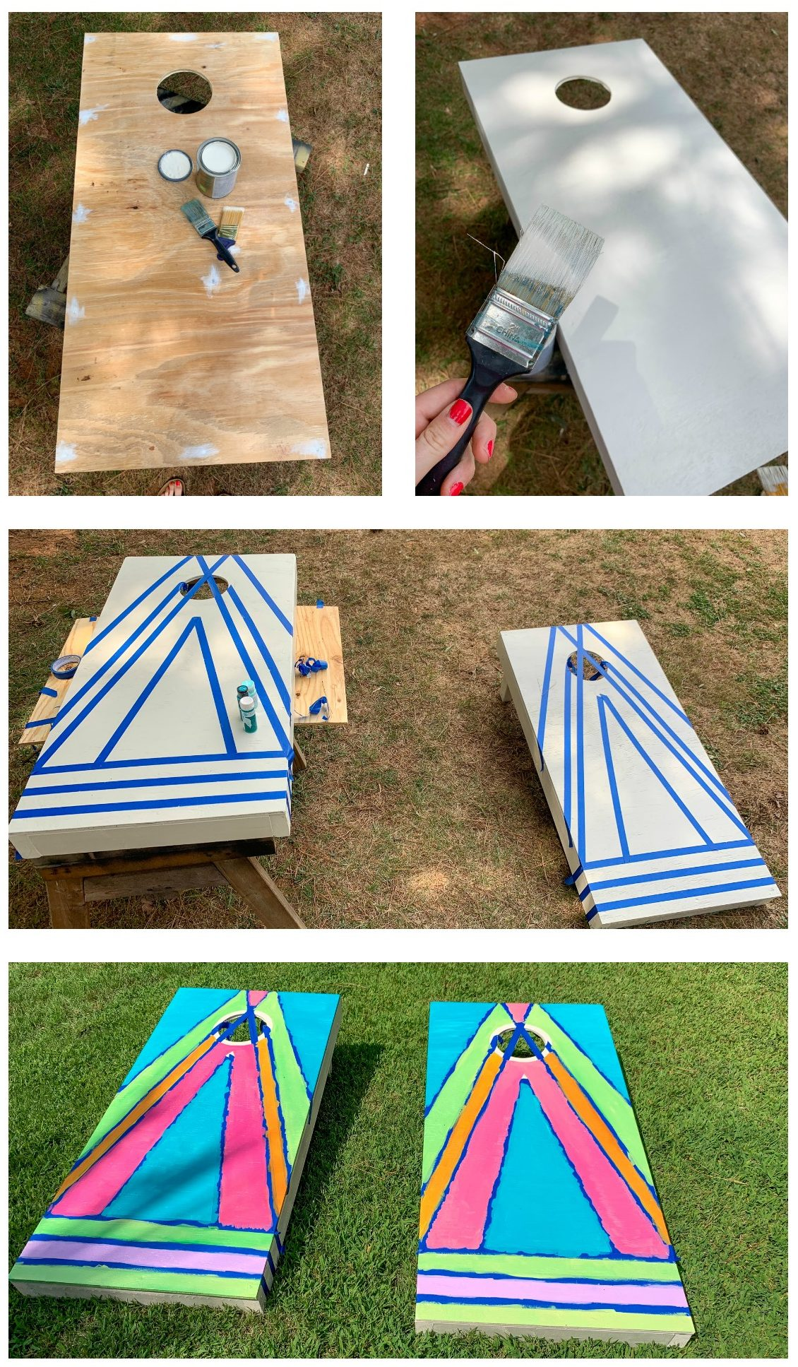 corn hole boards diy colorful
